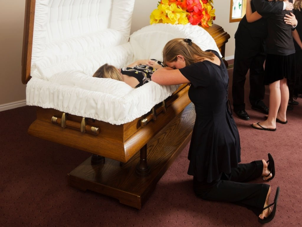 Dead Mother Inside The Coffin