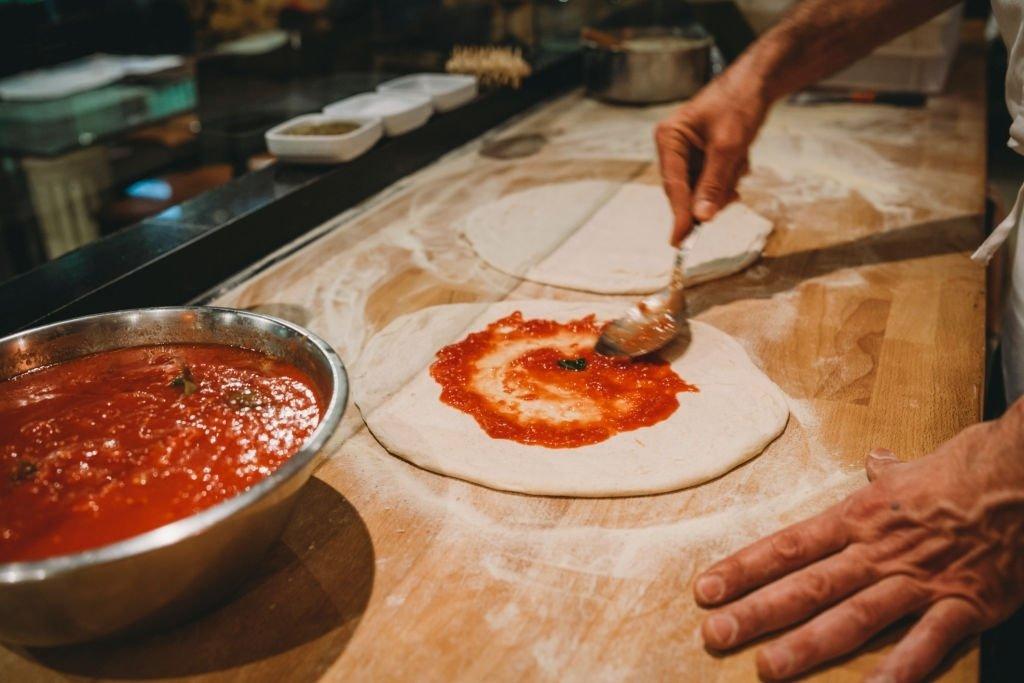 Preparing A Pizza